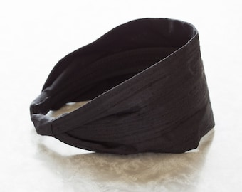 Dupioni Silk - Coal - Black Retro Style Wide Silk/Cotton Fabric Headband