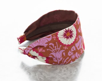Fortune - Berry - Pink and Taupe Floral Print Wide Cotton Fabric Headband