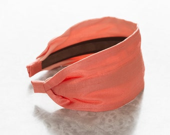 Dupioni Silk - Coral - Blush Peach Wide Fabric Headband