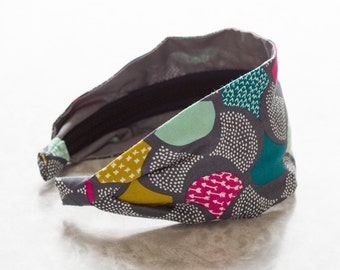 Scalloped Edge - Gray - White, Gray, Gold, Turquoise and Pink Modern Print Retro Style Wide Cotton Fabric Headband