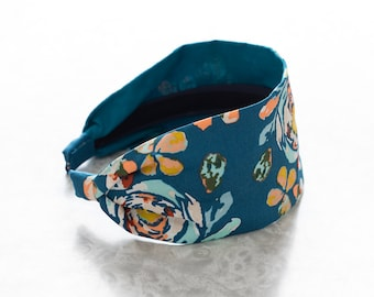 Fleet & Flourish - Blue - Floral Print Wide Fabric Headband
