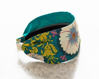 Fortune - Teal - Blue and Gold Floral Print Wide Cotton Fabric Headband