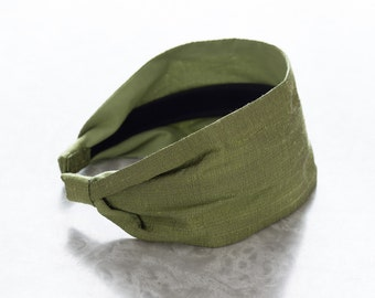 Dupioni Silk - Peridot - Olive Green Wide Fabric Headband