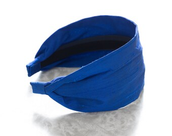 Dupioni Silk - Cobalt - Royal Blue Wide Fabric Headband