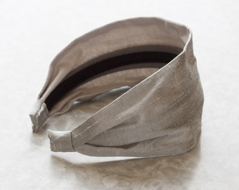 Dupioni Silk - Pewter - Gray Retro Style Wide Silk/Cotton Fabric Headband