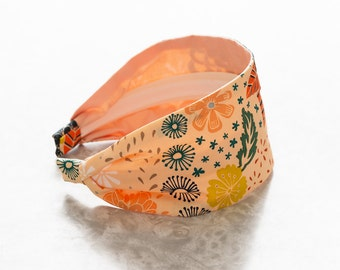 Maureen - Light - Peach Floral Print Wide Cotton Fabric Headband