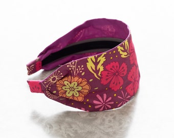 Maureen - Dark - Plum Floral Print Wide Cotton Fabric Headband
