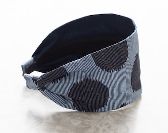 Moon Shine - Indigo - Dark Blue Polka Dot Print Retro Style Wide Cotton Fabric Headband