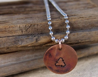 Recycle Copper Charm Necklace Gift for Her Gift for Him