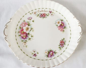 October cake plate - Flower of the Month - Royal Albert - Cosmos - 9 3/4 inch plate