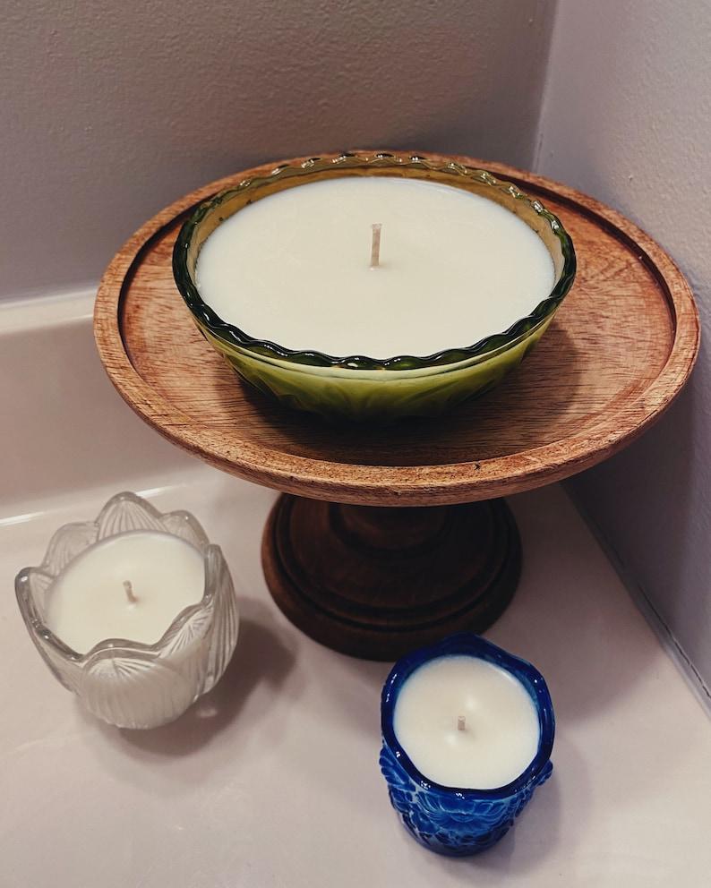 tulip afternoon \u2022 HANDMADE \u2022 soy wax candle \u2022 upcycled crystal dish \u2022 lavender scented \u2022 sustainable \u2022 witchy \u2022 green