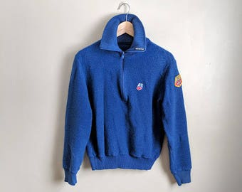 CLEARANCE vintage 80's authentic US Ski team felted wool pullover sweater in blue