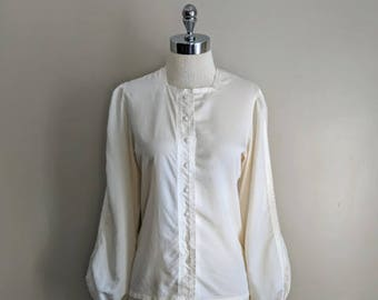 vintage 70's ribbon detail pouf sleeve blouse in ivory