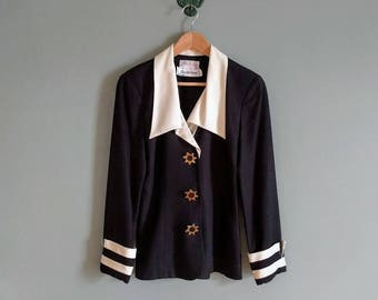 vintage 80's Sak's 5th Ave sailor inspired blazer with star buttons in black and white
