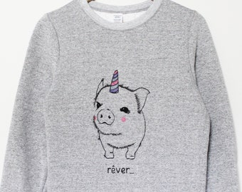 50b502faec683 Pig unicorn sweatshirt, unisex hand painted pigicorn crewneck, minimalist  design, gray fleece crew neck jumper, unique fashion, cute sweater