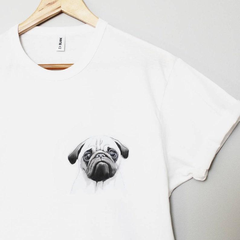 71082933423fc Pug t-shirt, hand painted tshirt, UNISEX cute dog pocket tee, carlin shirt,  animal lover gift, watercolor design, monochrome wearable art