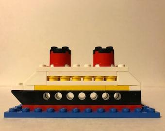 """Lego Disney Cruise Ship With """"Portholes"""" and Blue Base"""