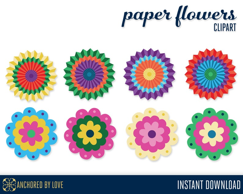 Paper Flower Clipart Floral Clip art Flower Clip Art Fiesta image 0