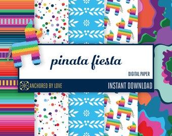 Fiesta digital paper | Mexican digital paper | Mexican party digital paper | Fiesta paper flowers digital paper | Pinata donkey download