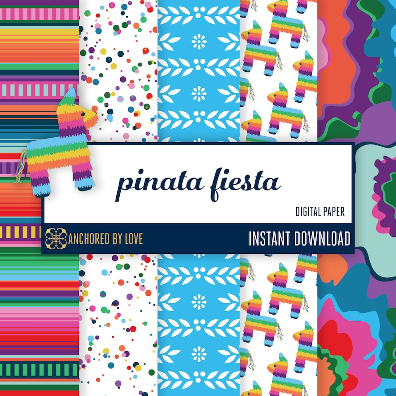 Fiesta digital paper  Mexican digital paper  Mexican party image 0