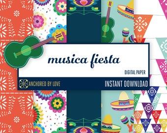 Fiesta party digital paper | Papel picado digital paper | Mexican scrapbook paper | Guitar digital paper | Sombrero design paper digital