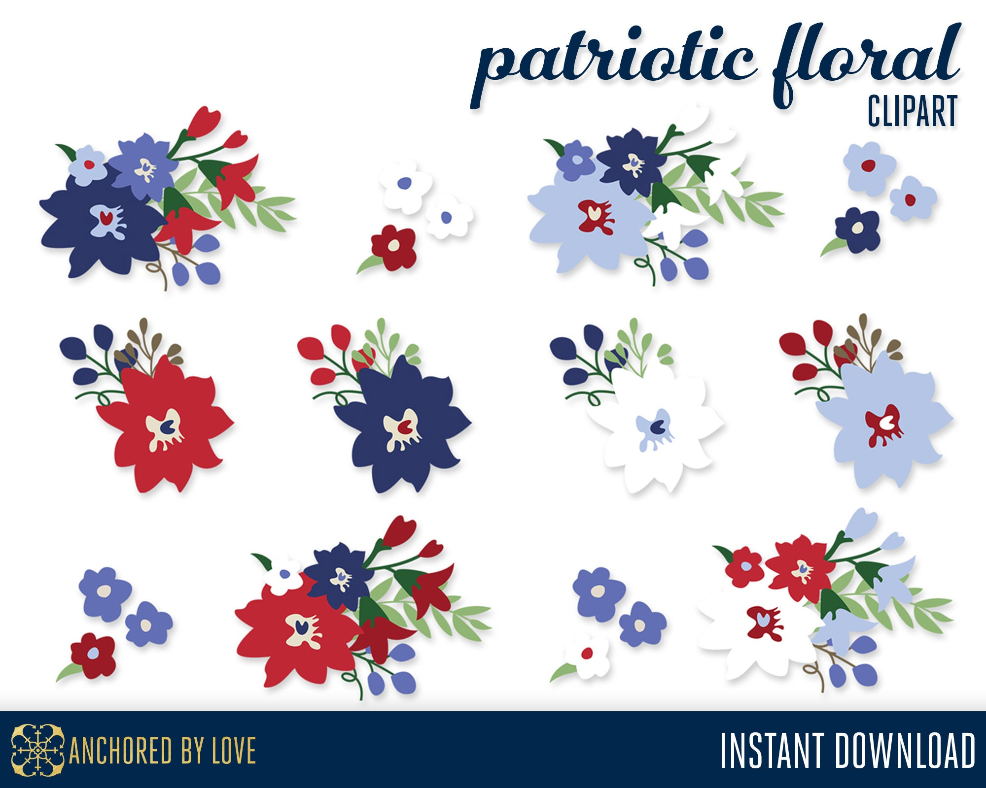 Patriotic Clip Art 4th Of July Clip Art Red Flowers Clipart Etsy