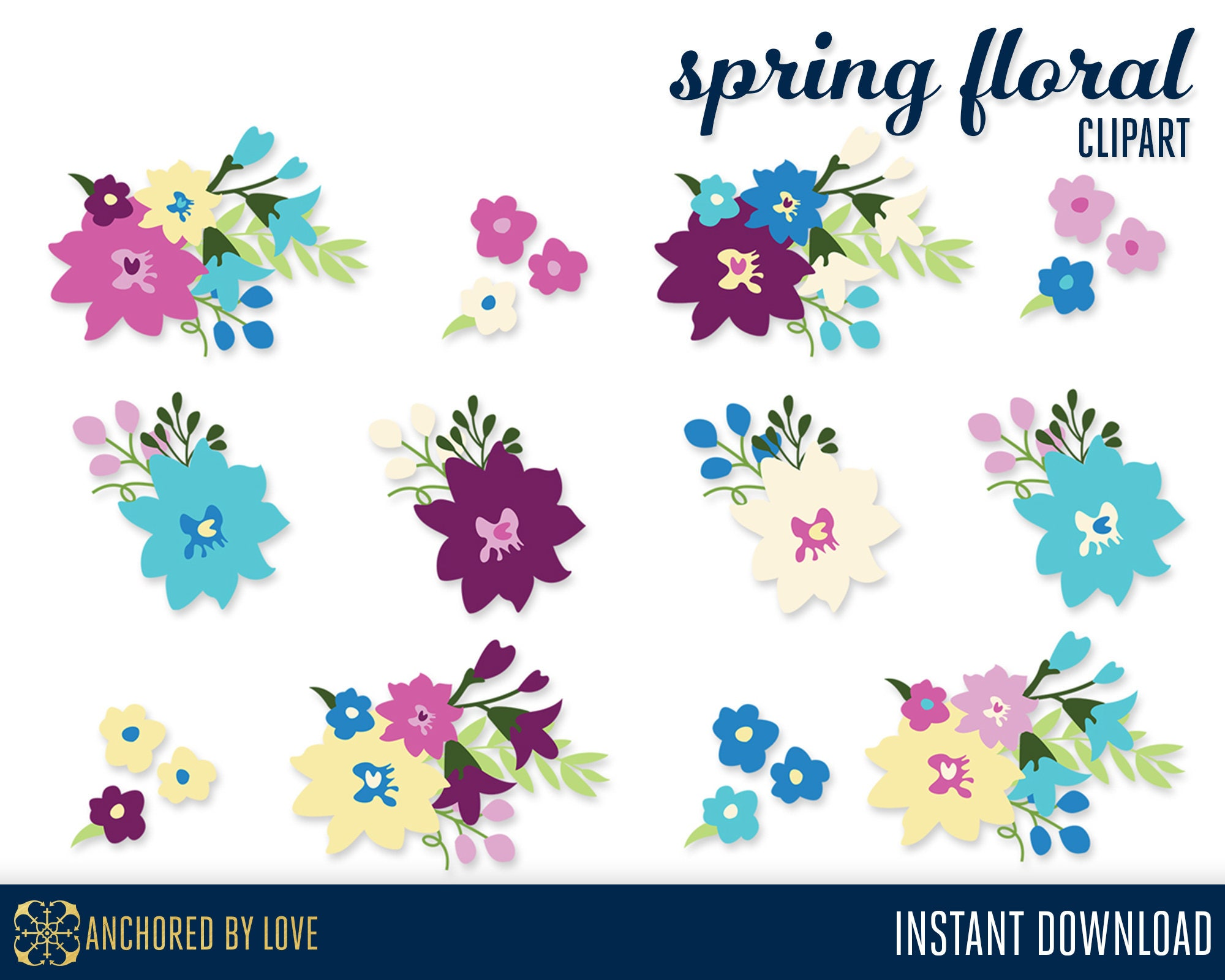 Spring Flowers Clip Art Spring Wedding Clipart Purple Floral Etsy