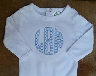 Circle Monogram for Boys Stitched Baby Blue Shower Gift Going Home Outfit