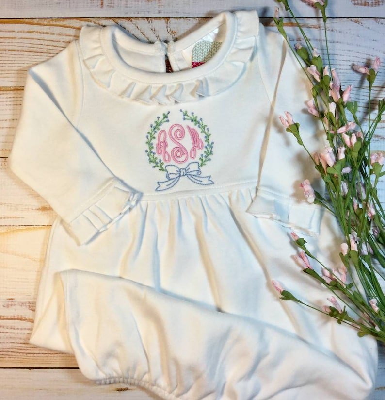 acf34ad03c08 Baby Girl Going Home Outfit Personalized White Long Sleeve