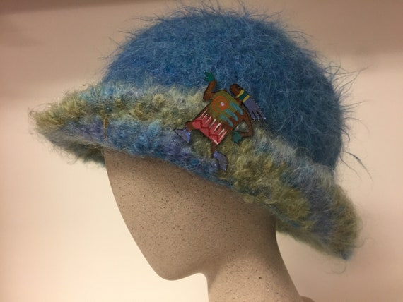 Hand made felted hat with pin