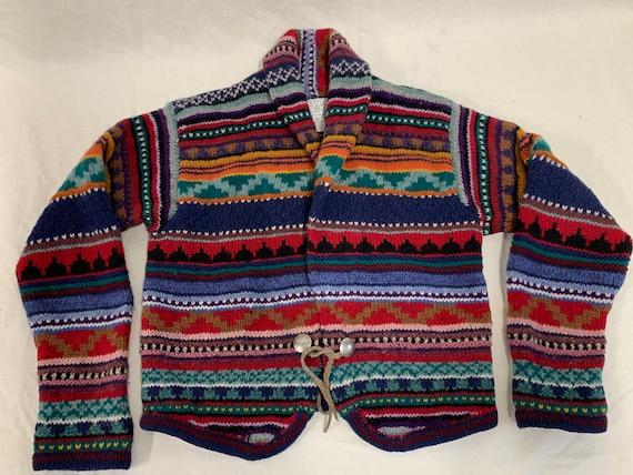 Colorful medium vintage sweater shetland wool