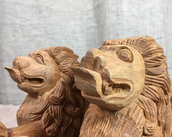 Hand carved Chinese lions