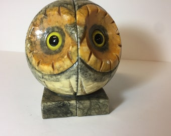 Mid century alabaster owl bookends