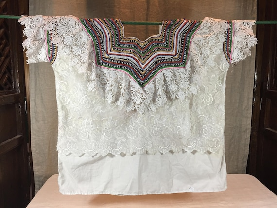 Lacy Mexican vintage huipil