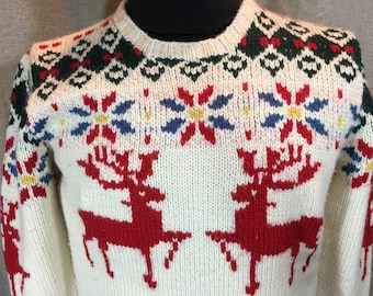 Vintage Woman's Medium handknit Christmas sweater with reindeer and poinsettas