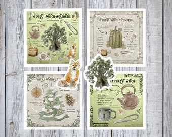 Forest Witch Pack - Witchy Watercolor Art Prints and Stickers