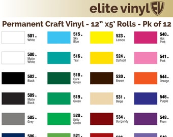 "12 Rolls - 12""x5' Permanent Adhesive Vinyl for crafts, scrapbooking, decals, lettering, etc. - FAST SHIP!"
