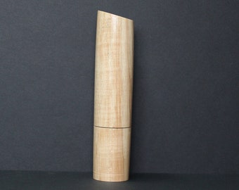 Spices and peppermill grinder in Spalted Maple , Curved  style  10,4375 in. X 2,375 D. item no: 1070