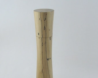 Spices and peppermill grinder in spalted Maple , Elegant style  10,75 in. X 2,375 Diam. item no: 984