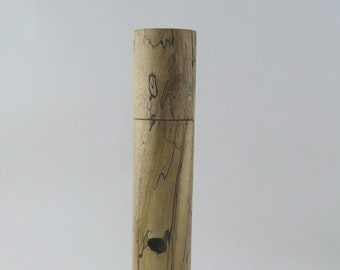 Spices and peppermill grinder in spalted Maple , Cylinder  style  10.875in. X 2,125 Diam. item no: 981