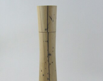 Spices and peppermill grinder in spalted Maple , Elegant style  10,75 in. X 2,375 Diam. item no: 985