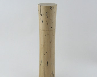 Spices and peppermill grinder in spalted Maple , Elegant style  10,875 in. X 2,375 Diam. item no: 979
