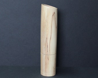 Spices and peppermill grinder in Spalted Maple , Curved  style  10,4375 in. X 2,375 D. item no: 1069