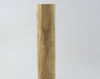 Spices and peppermill grinder in spalted Maple , Cylinder  style  9.75in. X 2,375 Diam. item no: 990