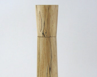 Spices and peppermill grinder in spalted Maple , Elegant style  8.375, in. X 2,375 Diam. item no: 994