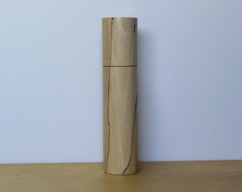 Spices and peppermill grinder in spalted Maple , Cylinder  style with rod mechanisme  10,375 in X 2. 375 D item no: 1050