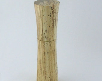 Spices and peppermill grinder in spalted Maple , Elegant style  9, in. X 2,375 Diam. item no: 992