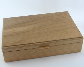 Tea box in cherry ,size are 12 X 7 3/4 x 3 1/4.Top is made from cherry. Item 201