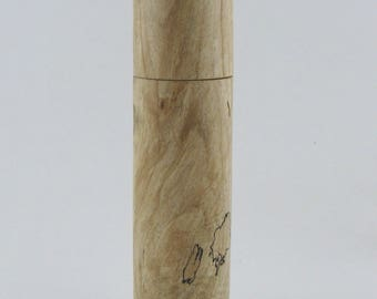 Spices and peppermill grinder in spalted Maple, Cylinder style with rod mechanisme  9 inch X 2 5/16 D, article no: 944
