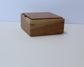 Wooden storage box, empty pocket, wooden box, handcrafted, top and sides in Cherry